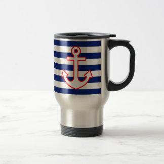 Nautical Style Anchor on Stripes Travel Mug