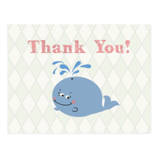 Nautical Style Blue Whale Kid's Party - Postcard