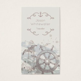 Nautical Style Traveler's Business Card - Beige