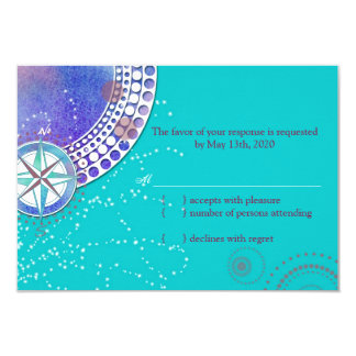 Nautical Stylish Aqua Wedding RSVP 3.5x5 Paper Invitation Card