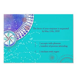 Nautical Stylish Aqua Wedding RSVP Card