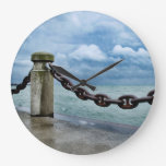 Nautical Summer Beach Front Blue Sky Rustic Large Clock