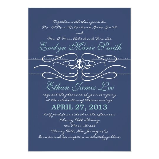 Nautical Swirl Wedding Invitation in Navy