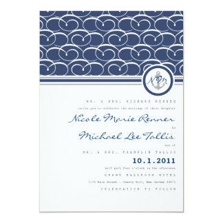 Nautical Swirls Monogram Wedding Invitation