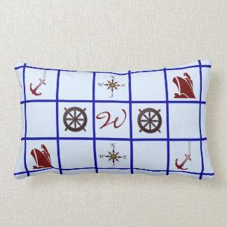 Nautical Symbols Monogrammed Lumbar Pillow
