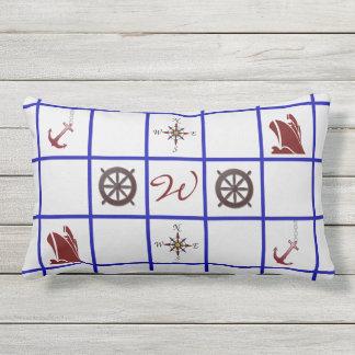 Nautical Symbols Reversible Monogrammed Outdoor Pillow