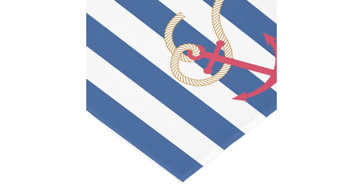 Nautical Table Runner With Rope And Anchor Zazzle