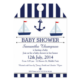 Nautical Tag Baby Shower Invitation For Boy