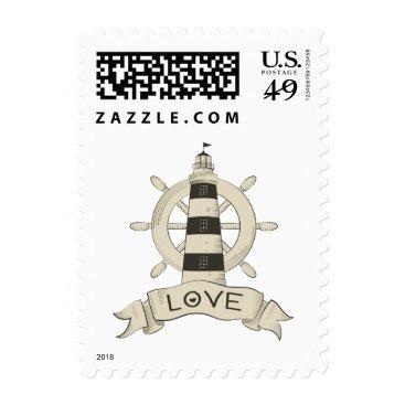 Beach Themed Nautical Tan Lighthouse & Ship Anchor Sailor Love Postage