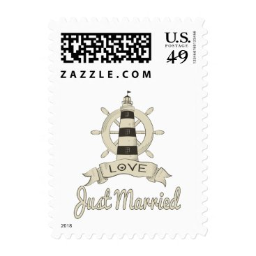 Beach Themed Nautical Tan Lighthouse & Ship Anchor Sailor Love Postage