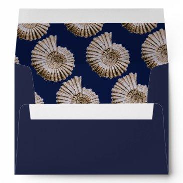Beach Themed Nautical Tan Spiral Seashells & Navy Blue Envelope