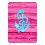 Nautical Teal Blue Anchor Girly Pink Fuchsia Wood Custom Invitation