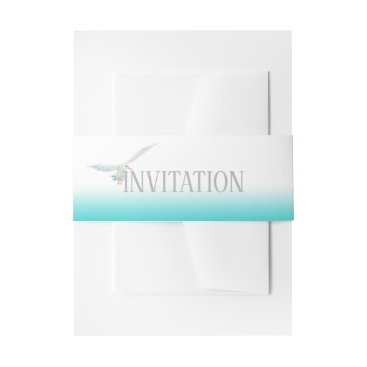 Beach Themed Nautical Teal Sea Breeze Gradient with Seagull Invitation Belly Band