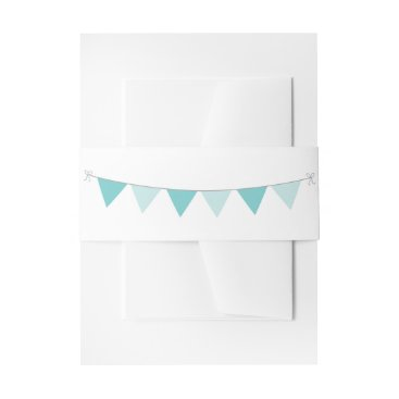 Beach Themed Nautical Teal Sea Breeze with Bunting Invitation Belly Band