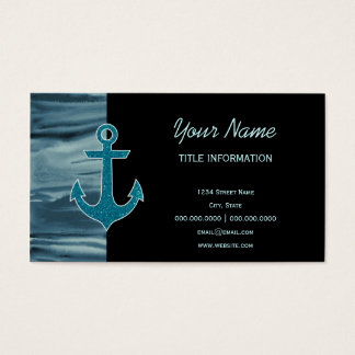 Nautical Teal Watercolor Glitter Anchor Business Card