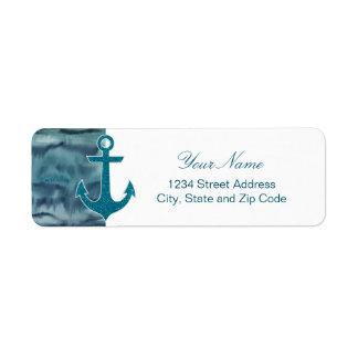 Nautical Teal Watercolor Glitter Anchor Label