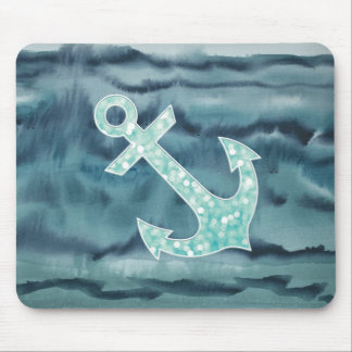 Nautical Teal Watercolor Glitter Anchor Mouse Pad