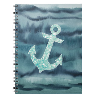 Nautical Teal Watercolor Glitter Anchor Note Book