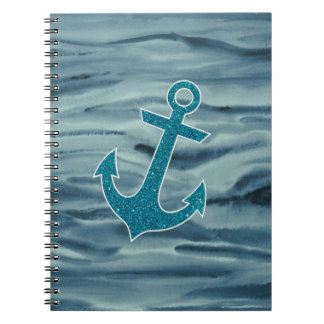 Nautical Teal Watercolor Glitter Anchor Journals