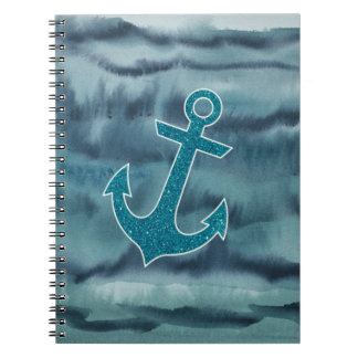 Nautical Teal Watercolor Glitter Anchor Spiral Notebooks
