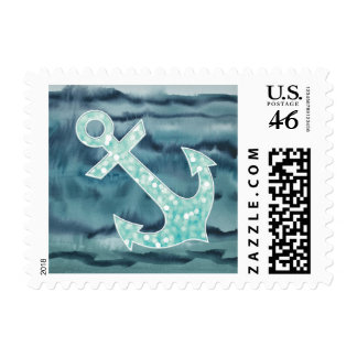Nautical Teal Watercolor Glitter Anchor Stamp
