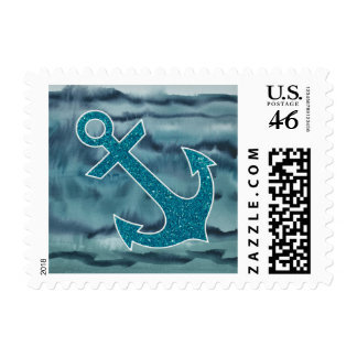 Nautical Teal Watercolor Glitter Anchor Stamps