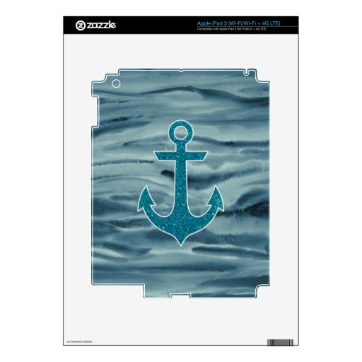 Nautical Teal Watercolor Glitter Anchor iPad 3 Decals
