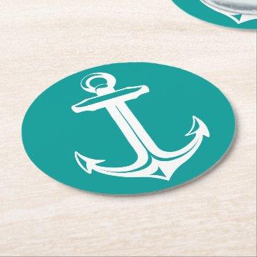 Beach Themed Nautical Teal & White Ship Anchor Beach Party Round Paper Coaster