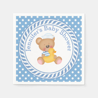 Nautical Teddy Bear Baby Shower Paper Napkin