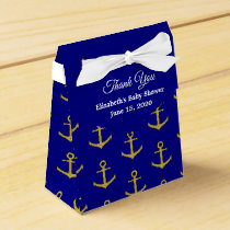 Nautical Thank You Navy and Gold Favor Box