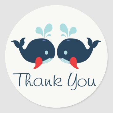 Beach Themed Nautical Thank You Navy Blue & Red Whales Wedding Classic Round Sticker