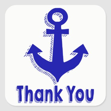 Beach Themed Nautical Thank You Navy Blue Ship Anchor Square Sticker