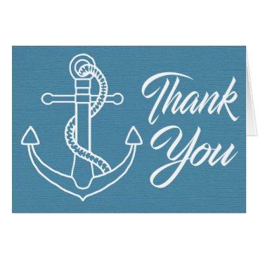 Beach Themed Nautical Thank You Navy Blue Whales Beach Wedding Card