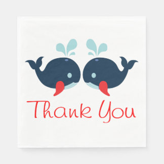 Nautical Thank You Navy Red Whales Wedding Beach Paper Napkin