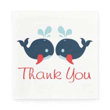 Beach Themed Nautical Thank You Navy Red Whales Wedding Beach Paper Napkin