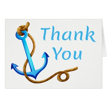 Beach Themed Nautical Thank You Ship Anchor Blue Turquoise Card