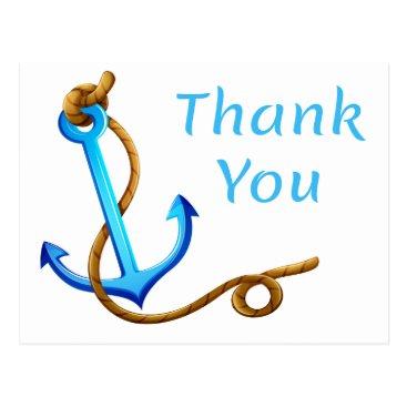 Beach Themed Nautical Thank You Ship Anchor Blue Turquoise Postcard