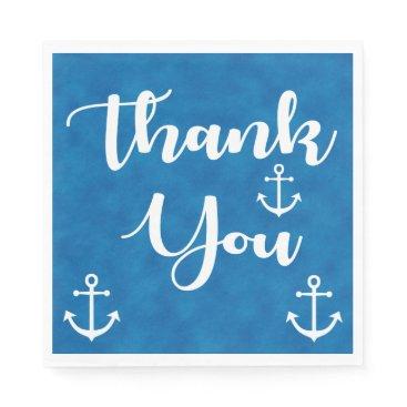 Nautical Thank You Ship Anchor Blue Watercolor Paper Napkin