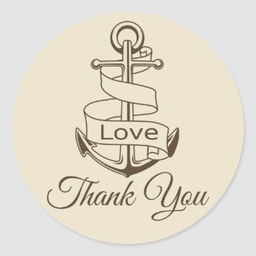 Beach Themed Nautical Thank You Ship Anchor Tan  Brown Wedding Classic Round Sticker