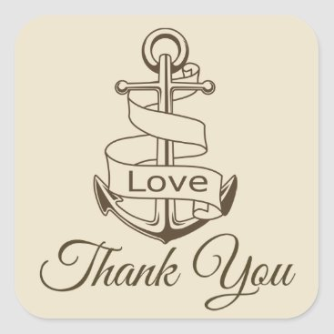 Beach Themed Nautical Thank You Ship Anchor Tan  Brown Wedding Square Sticker