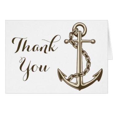 Beach Themed Nautical Thank You Ship Anchor Wedding / Party Card