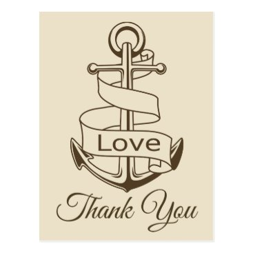 Beach Themed Nautical Thank You Tan Brown Ship Anchor Wedding Postcard
