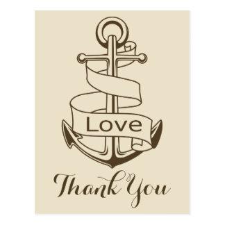 Nautical Thank You Tan Brown Ship Anchor Wedding Postcard