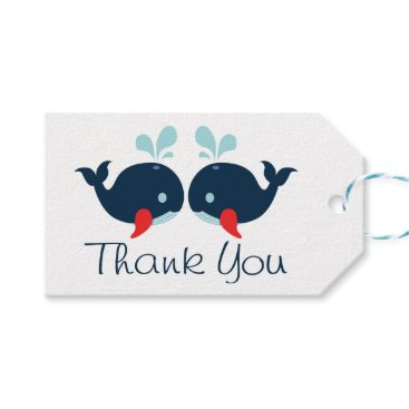 Beach Themed Nautical Thank You Whales Navy Blue & Red Wedding Gift Tags
