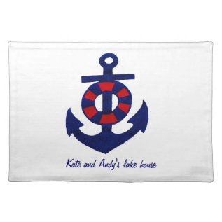 Nautical Theme Anchor And Buoy Cloth Placemat at Zazzle