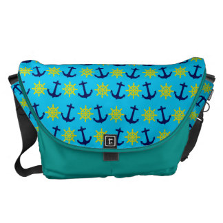 Nautical Theme Anchor and Wheel Pattern Messenger Bag