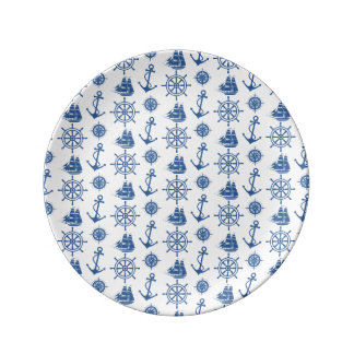 Nautical Theme Anchor Blue and White Dinner Plate