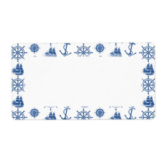 Nautical Theme Anchor Blue and White Label