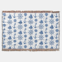 Nautical Theme Anchor Blue and White Throw Blanket