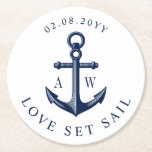 """Nautical Theme Anchor Custom Monograms Round Paper Coaster<br><div class=""""desc"""">Nautical style dinner coasters for your next bridal shower,  couple shower,  or nautical themed wedding party event.</div>"""
